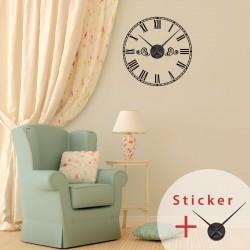 Sticker horloge avec chiffres romains