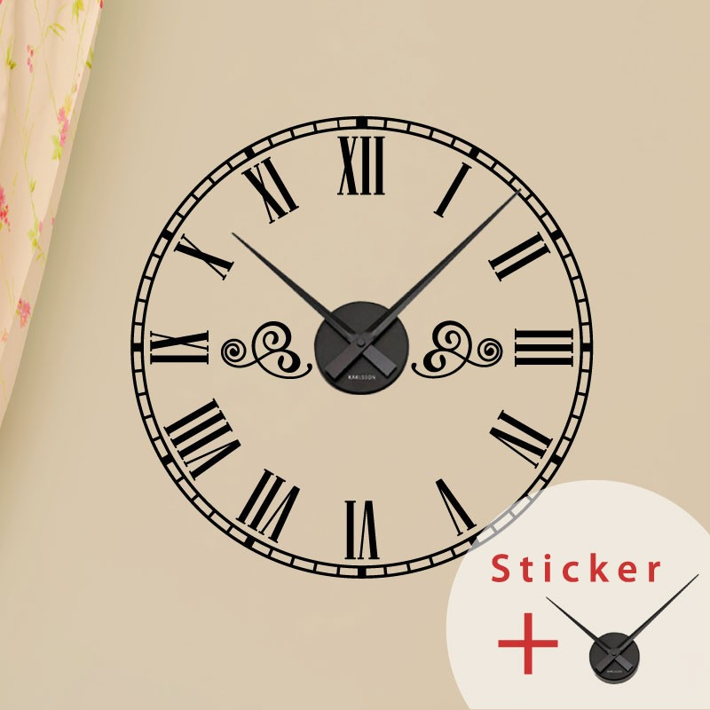 sticker horloge avec chiffres romains pas cher stickers abstraits discount stickers muraux. Black Bedroom Furniture Sets. Home Design Ideas