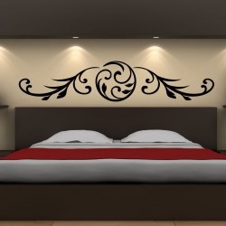 Floral horizontal headboard wall decal design
