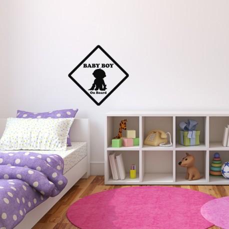 Sticker Baby boy on board - white
