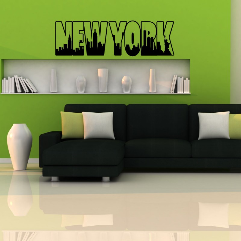 sticker new york en lettres pas cher stickers monde discount stickers muraux madeco stickers. Black Bedroom Furniture Sets. Home Design Ideas