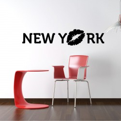 Wall decal New York with kiss