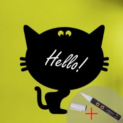 Wall decal blackboard cat+ 1 white liquid chalk