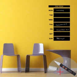 Weekly Calendar Chalkboard wall decal + 1 white liquid chalk