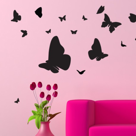 Sticker swarm of butterflies
