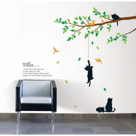 Sticker tree and cats