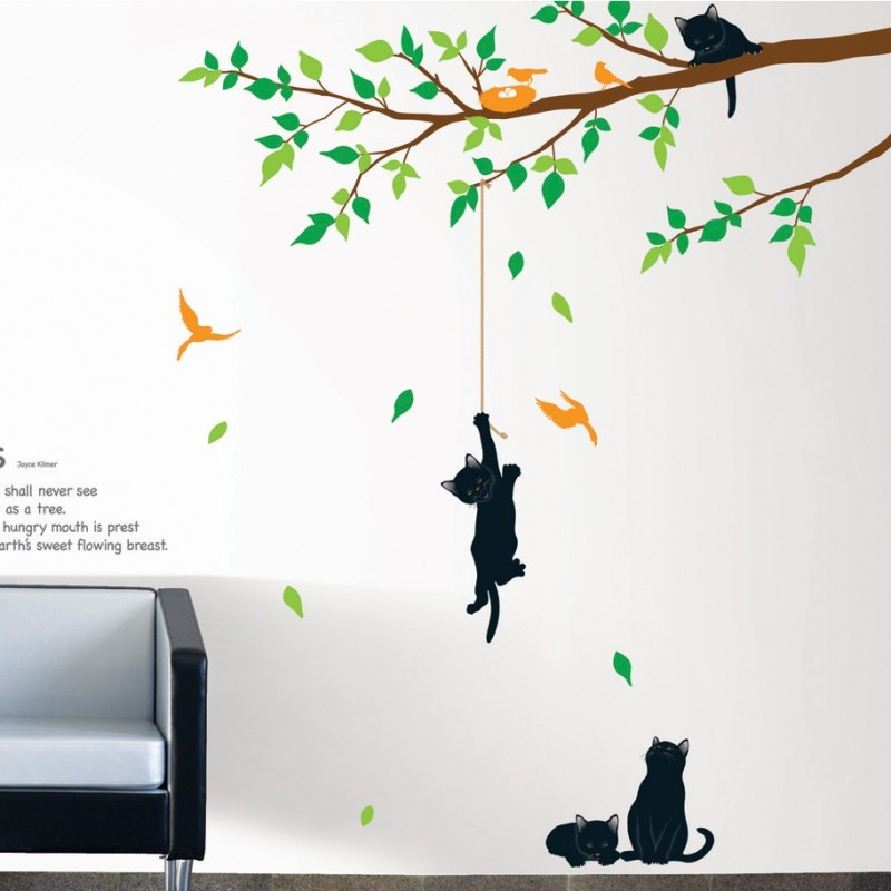 sticker arbre et chats pas cher stickers nature discount stickers muraux madeco stickers. Black Bedroom Furniture Sets. Home Design Ideas