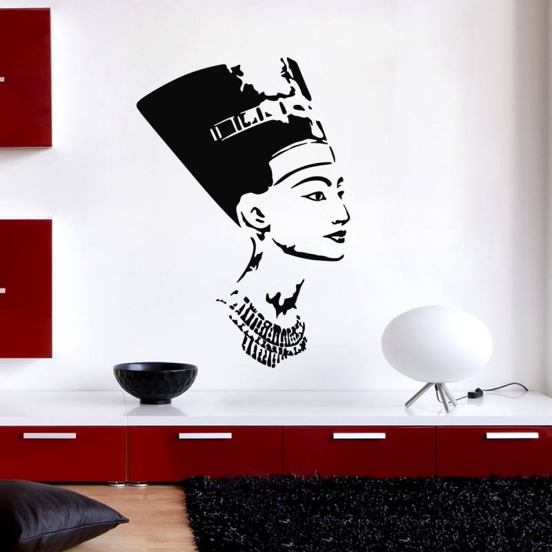 Sticker t te gyptienne n fertiti pas cher stickers for Decoration egyptienne murale