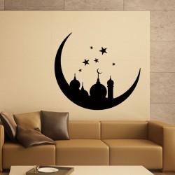 Sticker Oriental Monument sur la lune et les étoiles