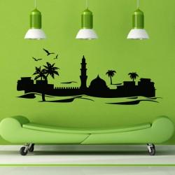 Sticker Château Orientale dans une Oasis-madeco-stickers, boutique en ligne de stickers muraux pas cher !