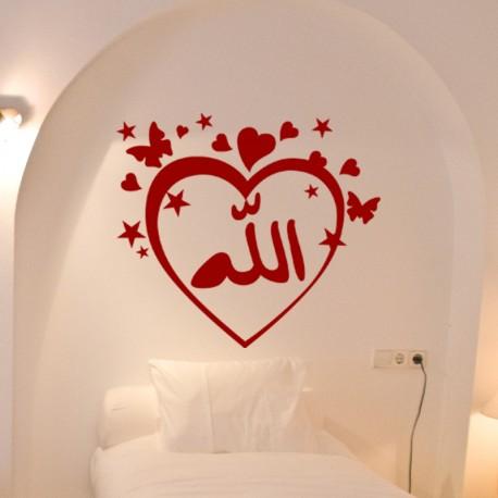 Sticker Coeur et papillon d'amour