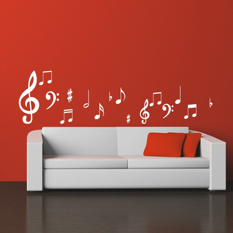 sticker note de musique pas cher stickers design discount stickers muraux madeco stickers. Black Bedroom Furniture Sets. Home Design Ideas