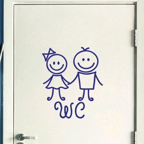 Sticker porte figure wc 3 pas cher stickers toilettes wc for Porte wc dessin