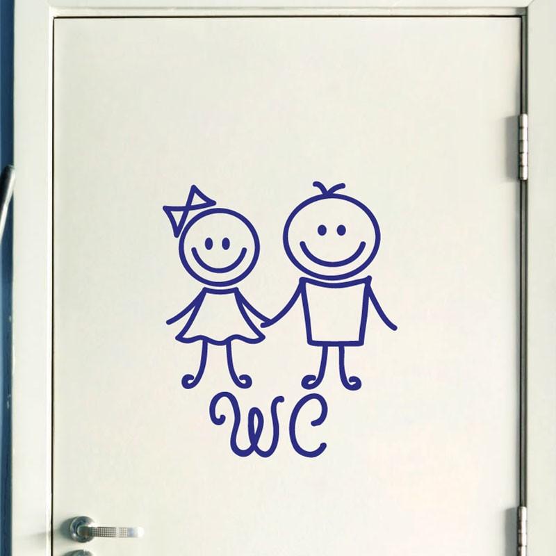 Sticker porte figure wc 3 pas cher stickers toilettes wc - Stickers porte wc ...