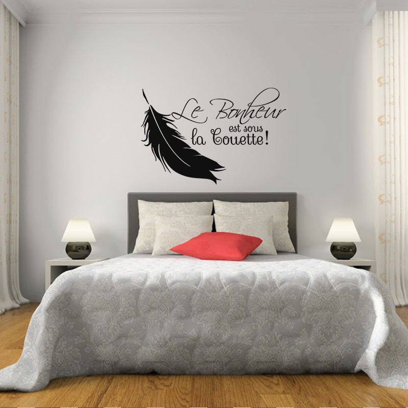 sticker le bonheur est sous la couette pas cher stickers calligraphies discount stickers. Black Bedroom Furniture Sets. Home Design Ideas