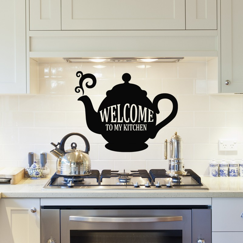 sticker welcome to my kitchen pas cher stickers cuisine discount stickers muraux madeco. Black Bedroom Furniture Sets. Home Design Ideas