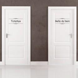 """Sticker porte """"Salle de bain"""" et """"Toilettes"""""""