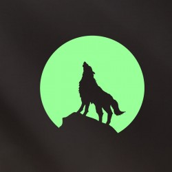 Sticker phosphorescent loup et la lune