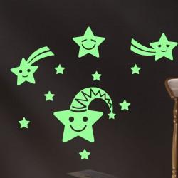 Sticker étoiles souriant phosphorescent