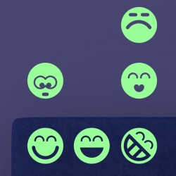 Sticker phosphorescent smileys groupe