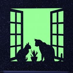 Sticker Phosphorescent Couple de chats sur une fenêtre