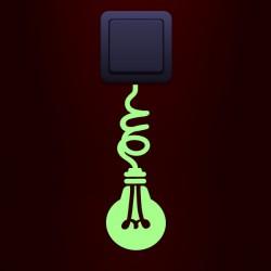 Sticker phosphorescent ampoule sur le cordon