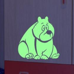 Sticker phosphorescent drôle ours