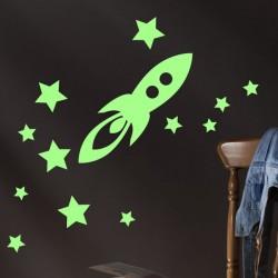 Sticker roquette et étoiles phosphorescents
