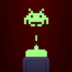 Sticker Space invaders phosphorescent