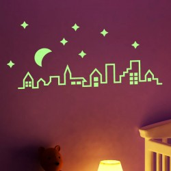 Sticker phosphorescent toits de la ville 2