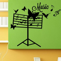 Sticker Music papillons et notes de musique