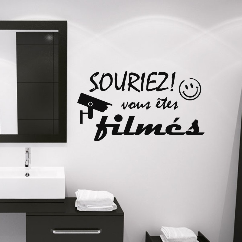 sticker souriez vous tes film s pas cher stickers design discount stickers muraux madeco. Black Bedroom Furniture Sets. Home Design Ideas