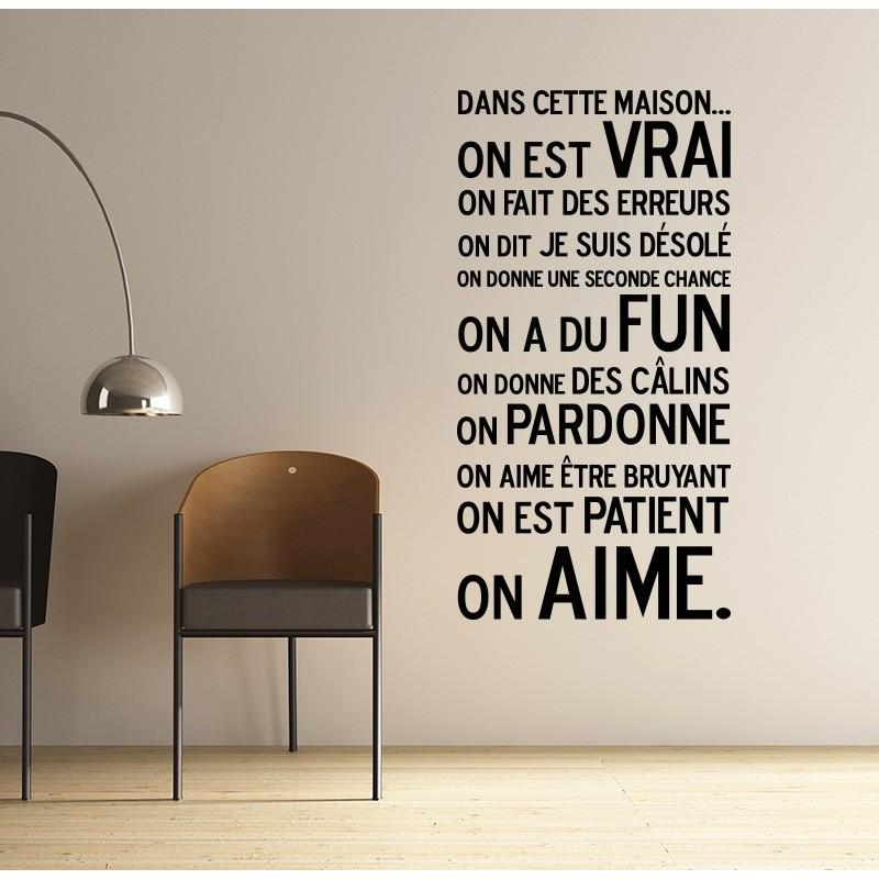 sticker dans cette maison pas cher stickers citations discount stickers muraux. Black Bedroom Furniture Sets. Home Design Ideas