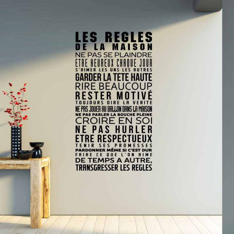 sticker les r gles de la maison pas cher stickers citations discount stickers muraux. Black Bedroom Furniture Sets. Home Design Ideas