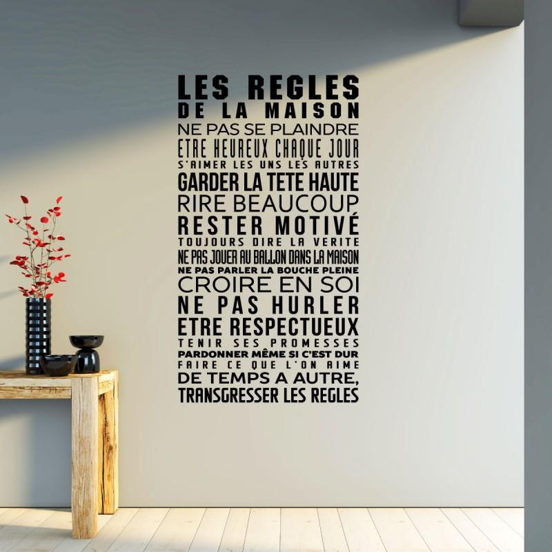 sticker les r gles de la maison pas cher stickers. Black Bedroom Furniture Sets. Home Design Ideas