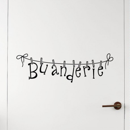 Sticker design buanderie pas cher stickers design for Stickers pour porte de chambre