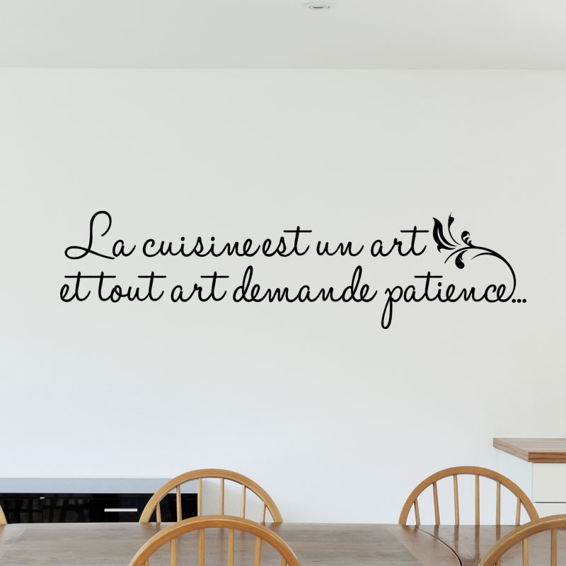 sticker la cuisine est un art pas cher stickers citations discount stickers muraux madeco. Black Bedroom Furniture Sets. Home Design Ideas