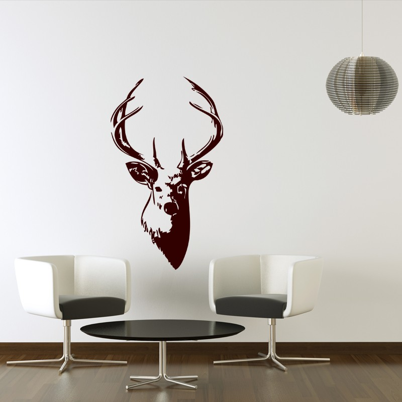 Sticker t te de cerf pas cher stickers design discount for Stickers salon design