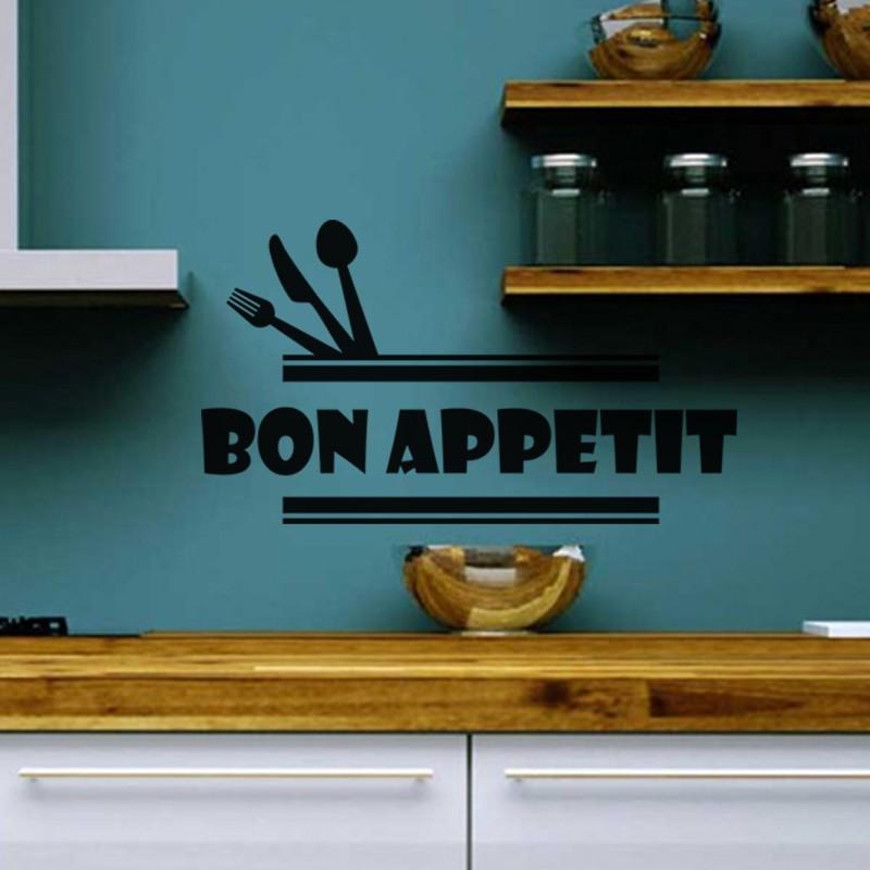 Sticker Cuisine Couverts Bon Appetit Pas Cher Stickers Citations Discount Stickers Muraux