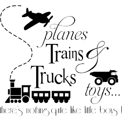 Sticker Planes trains trucks toys