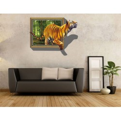 Sticker 3D tigre sortant de la toile