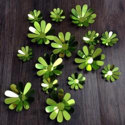 Sticker fleurs 3D chics adhésives MIROIR VERT