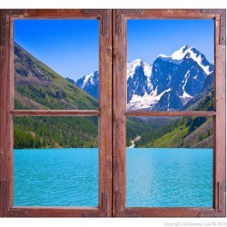 Sticker Trompe l'œil Montagne et lac