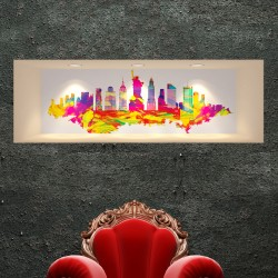 Sticker effet 3D New-York Design multicolore