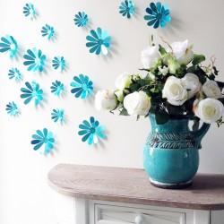 Sticker fleurs 3D chics adhésives MIROIR BLEU