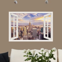 Sticker trompe l'oeil New York en or soleil