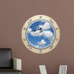 Sticker trompe l'oeil hublot d'avion