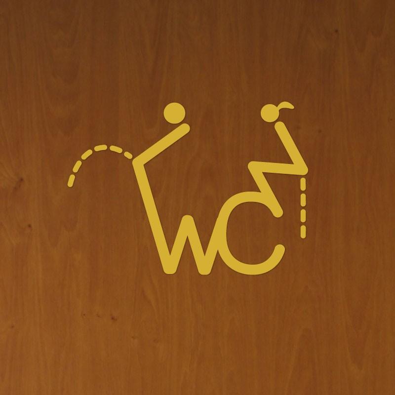 Sticker porte figure wc 2 pas cher stickers toilettes wc - Sticker de porte pas cher ...