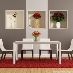 Sticker à effet 3D Roses rouges