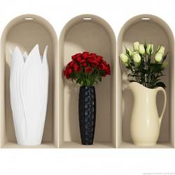 Sticker effet 3D Roses blanches et rouges 1